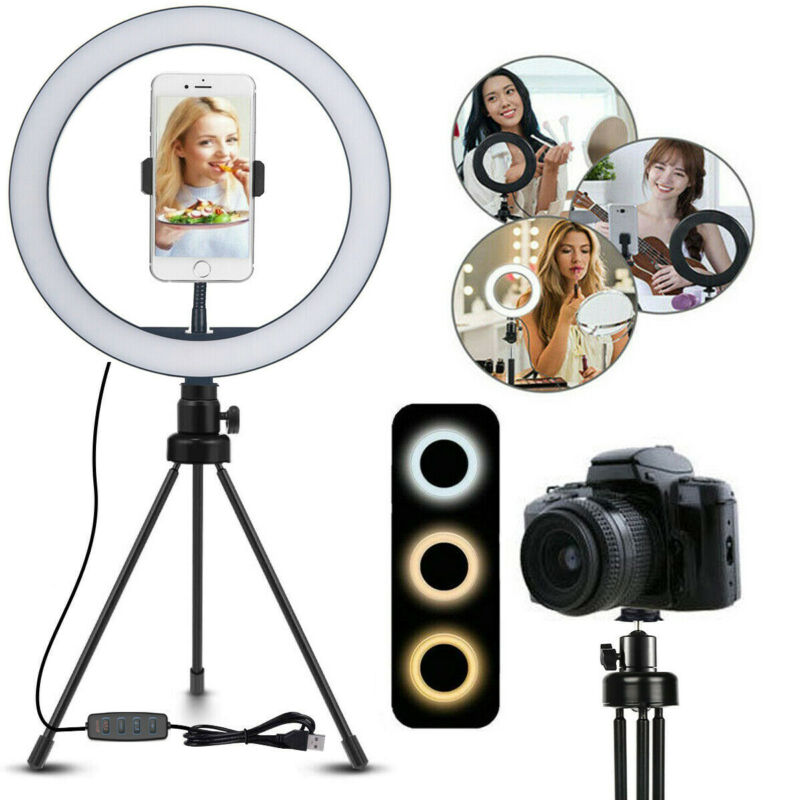 """10"""" Selfie LED Ring Light With Tripod Stand Phone Holder For Live Stream Makeup"""