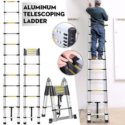 16.5ft 5m Folding Extension Ladder Aluminum Multi-purpose Telescoping A Shape Us
