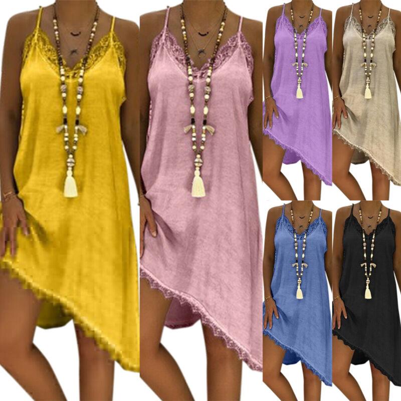 Damen Spitze Trägerkleid Longtop Sommerkleid Strandkleid Locker Bluse Übergröße