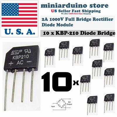 10pcs Kbp210 Generic Diode Full Bridge Rectifier 2a 1000v 4pin