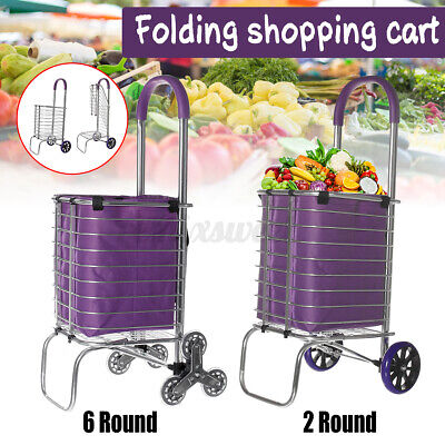 Folding Shopping Cart Grocery Laundry Stair Climbing Handcart With Bag