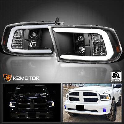 For 2009-2018 Dodge Ram 1500 2500 3500 Black Projector Headlights+LED DRL Bar