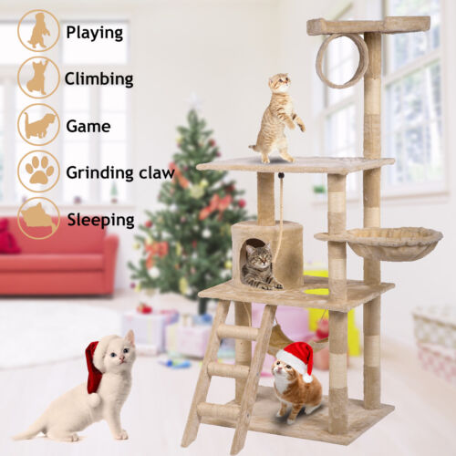 """64"""" Cat Tree Tower Scratcher Kitty Play House Condo Furniture Bed Post Pet House"""