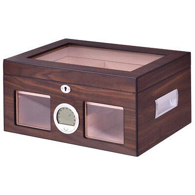 50-75 Cigar Humidor Storage Box Desktop Glasstop Humidifier Hygrometer Lockable