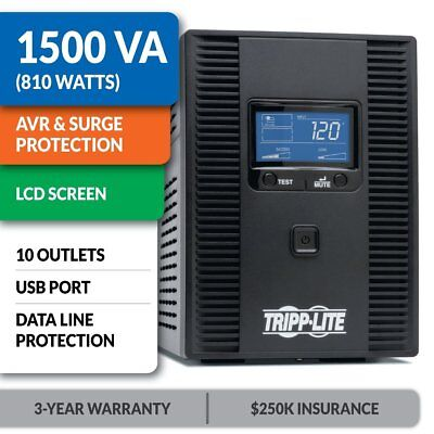 1500VA UPS Battery Back Up AVR 120V 810W Tel Coax Protect LCD Display 10 Outlets
