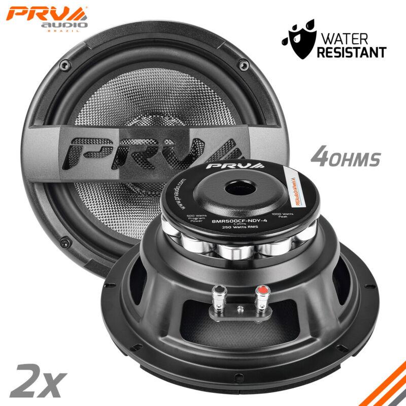"2x PRV 8MR500CF-NDY-4 Mid Range 4 Ohms Neodymium 8"" Waterproof PRO Audio Speaker"