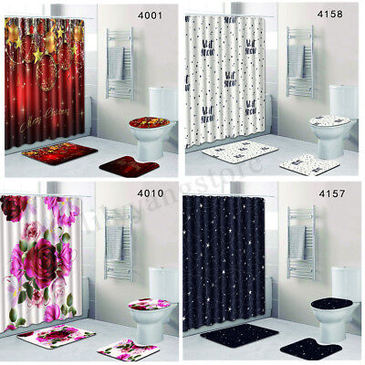 Chirstmas Hat (4Pcs Chirstmas Bathroom Shower Curtain Pedestal Rug Lid Toilet Cover Bath)