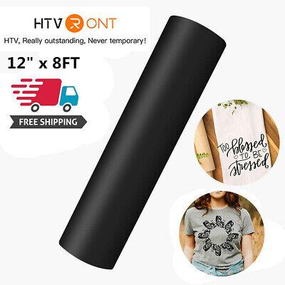Black 12x 8ft Heat Transfer Vinyl Htv Roll Iron On Heat Press Cricut Silhouette