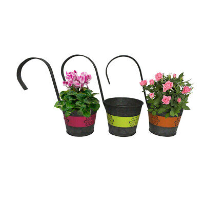 """Hanging Metal Flower Planters """"Jazzy Flowers"""" with Hanging H"""