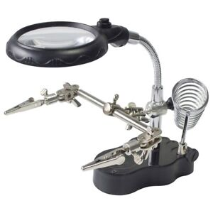 Soldering Iron Stand with LED Helping Hands Magnifying Glass Crocodile Clip NEW