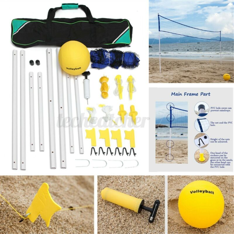 """240""""x24"""" Professional Portable Beach Volleyball Net System Set Adjustable Posts"""