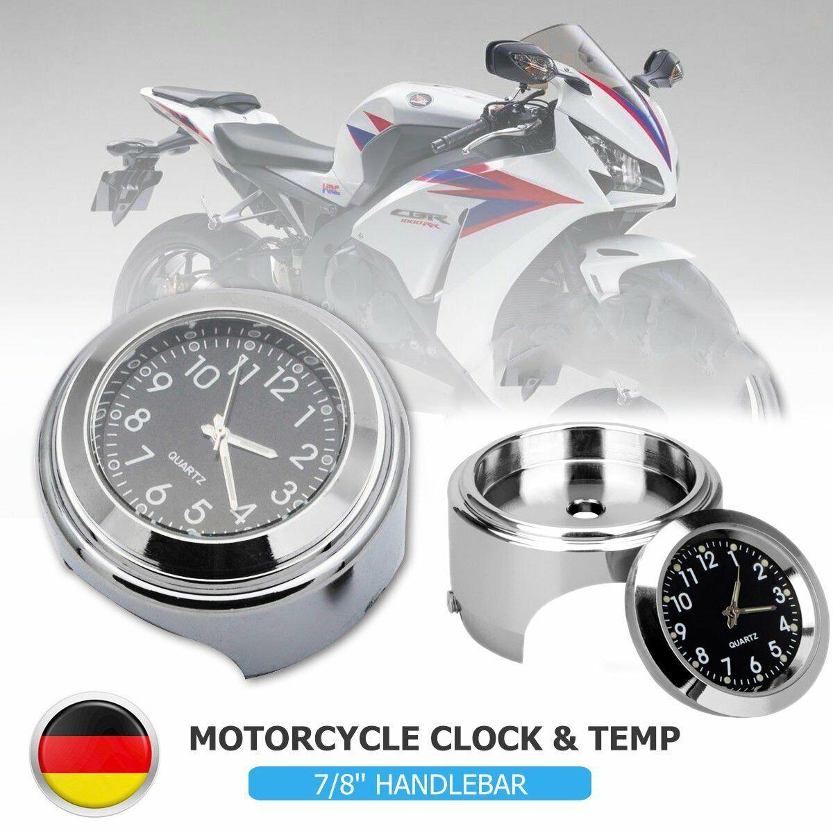 Terisass Wasserdichte Motorraduhr Universal Motorrad Lenkerhalterung Uhr Metall Griffstange Uhr Zubeh/ör f/ür Motorr/äder mit 7//8-1 Zoll Lenker Schwarz