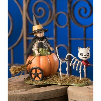 Bethany Lowe Designs Halloween Skelly's Pumpkin Carriage Ride Witch and Cat