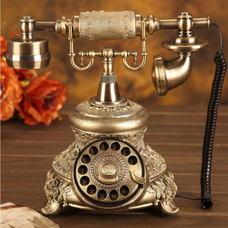Vintage Antique Style Corded Telephone Home Desk Landline Phone Rotary Redial US