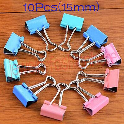 10pcs Colorful Metal Binder Clips Paper Clip 15mm Office Supplies Color Random