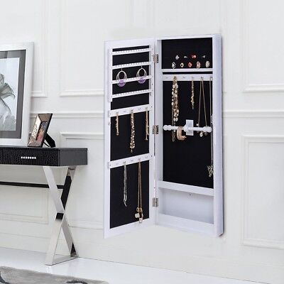 Home Wall Mounted Mirrored Jewelry Storage Cabinet Armoire Organizer Rack Holder