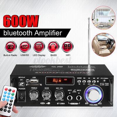 600W 2CH bluetooth Car Home Amplifier HIFI Audio Stereo Power Amp SD FM w/Remote