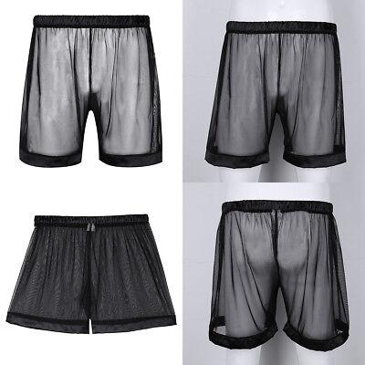 Schwarz Mesh Shorts (Herren Loose Mesh Kurze Hose Transparent Boxer Shorts Unterhosen Dessous Schwarz)