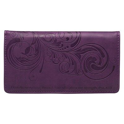 Checkbook Cover I Can Do Everything Through Him Purple  Faux Leather Free Ship
