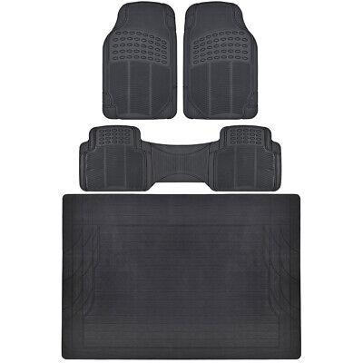 Car Floor Mats with Trunk Mat Black 4 Piece Odorless Trunk Mat 4 Piece