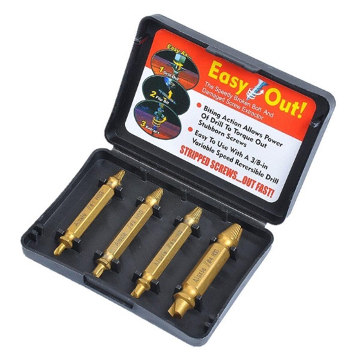 4pc/Set Titanium Damaged Screw Extractor Drill Bit Bolt Stud