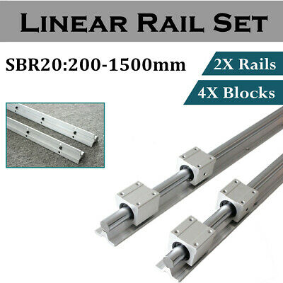 2x Sbr20 Linear Rail Shaft Rod 200-1500mm With 4pcs Sbr20uu Block Bearing Cnc