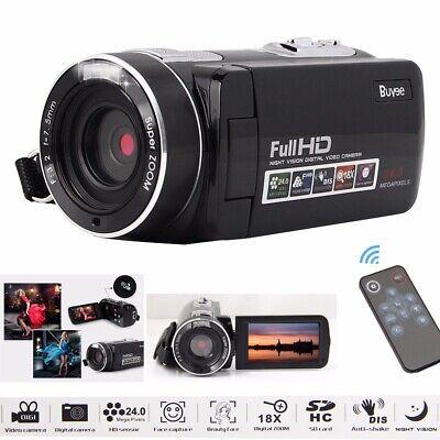 Digital Video Camcorder 24MP Night Vision Remote Control Recorder Camera HD1080P