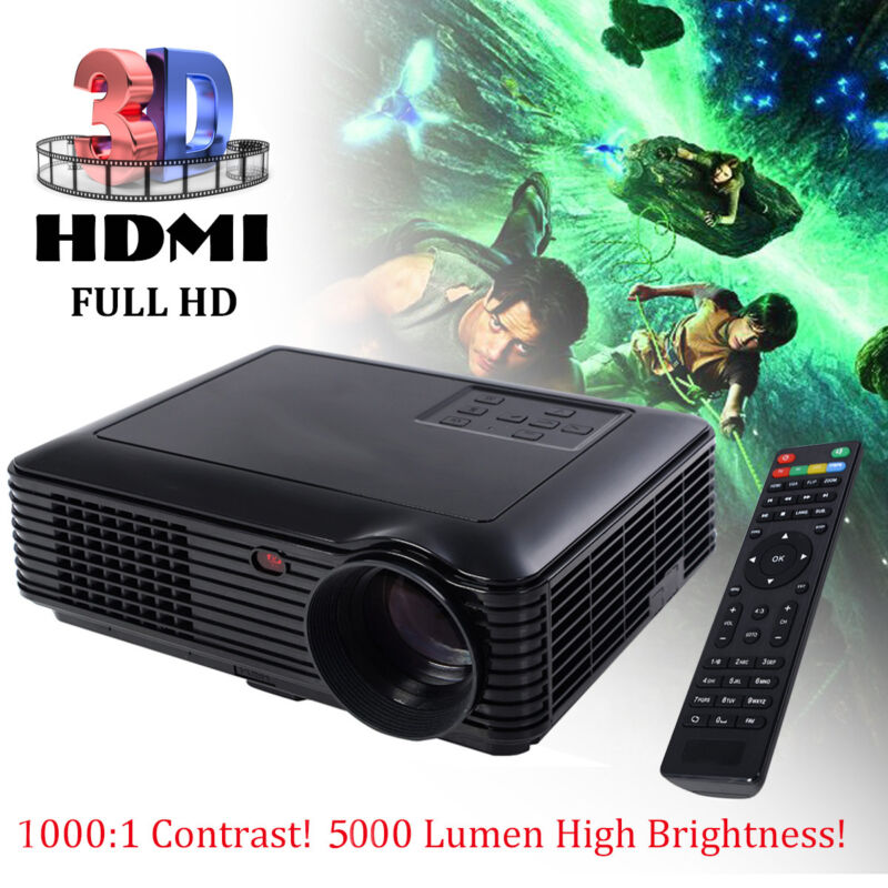5000 Lumens HD 1080P Home Theater Projector 3D LED Portable SD HDMI VGA