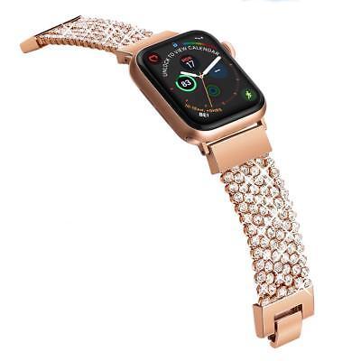 - Apple Watch Band Rhinestone Mesh Chain Bracelet Rose Gold for Women 40-42mm