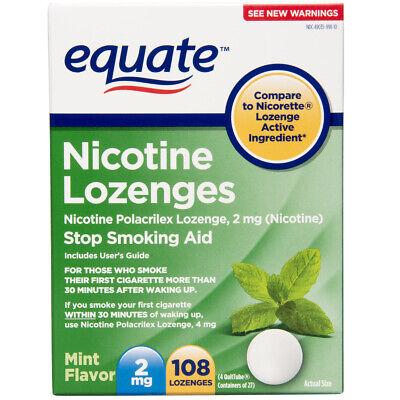 Aid Nicotine Lozenges 2mg Mint - EQUATE Stop Smoking Aid 2mg Mint Nicotine Lozenges