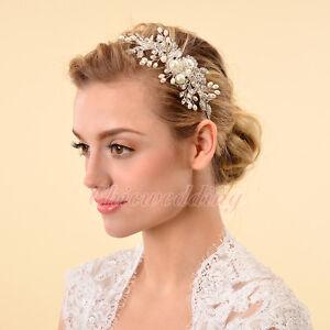 Crystal-Vintage-Style-Wedding-Side-Tiara-Pearl-Crystal-Headband-Hairpin-Clip-NEW