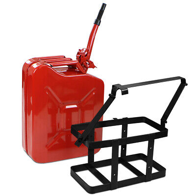 5 Gallon 20L Jerry Can Gas Diesel Fuel Steel Tank NATO Style Holder w/Mount Red