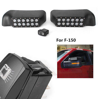 LED Side Mirror+Turn Signal Light for 2009-2014 Ford F-150/Raptor Truck Off Road