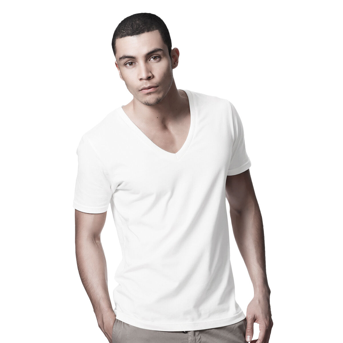 5a6130ae80e Details about DANYEYI® Mens Plain Fitted Low Deep V Neck T-Shirt Top White  Or Black S-XL