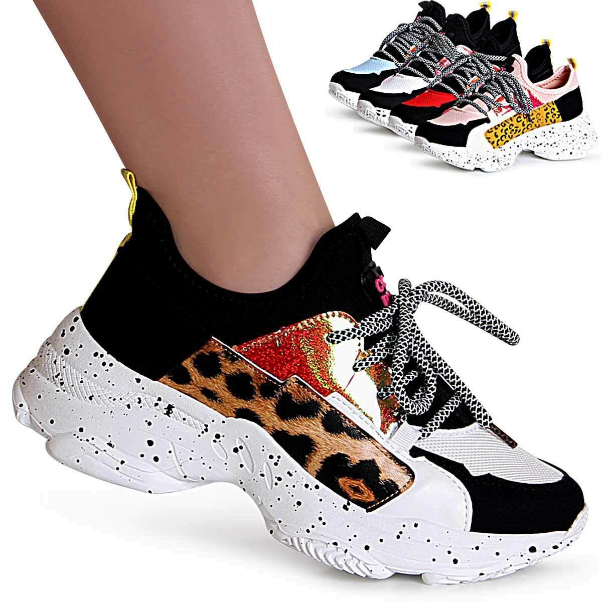 Damenschuhe Plateau Sneaker Keilabsatz Chunky Turnschuhe Halbschuhe Leo