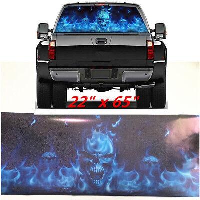 Car Truck Suv Blue Flaming Skull Rear Window Decal Print Tint Sticker 22