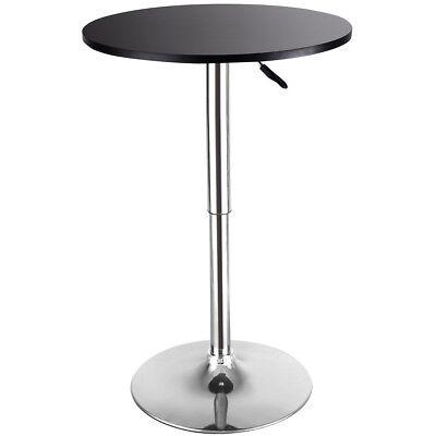 Modern Round Bar Table Adjustable Bistro Pub Counter Wood Top Swivel Indoor