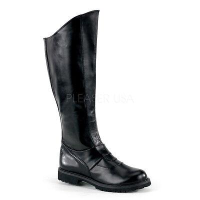 Dark Knight Boots (Black Batman Dark Knight Police Motorcycle Motorcade Boots Costume Mens 12)