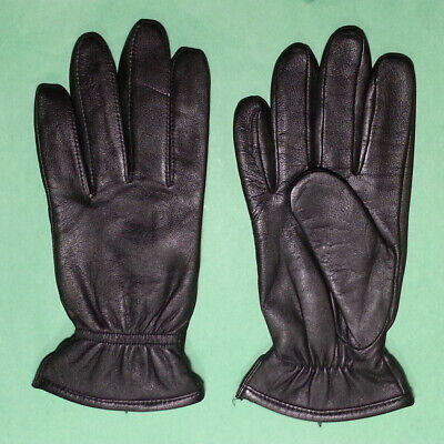"Men Genuine Leather Glove Dress Gloves Size L Polyester Lining Black 10"" long"
