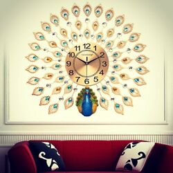 Luxury Modern Extra Large Peacock Wall Clock Europe Antique Style-Home Decor