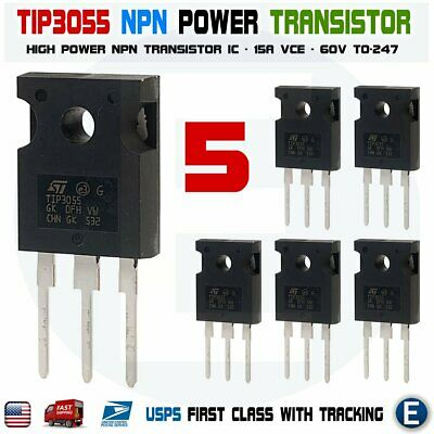 5pcs Tip3055 Power Transistor Npn 60v 15a To-247 Bipolar Audio