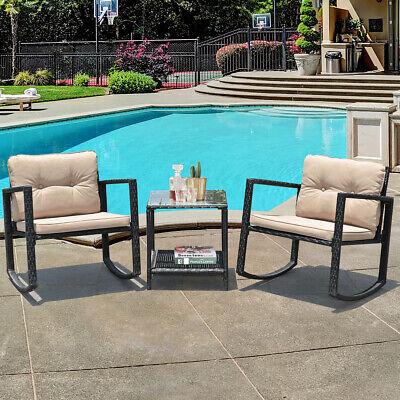 Garden Furniture - 3PC Patio Rattan Conversation Set Rocking Chair Cushioned Sofa Garden Furniture