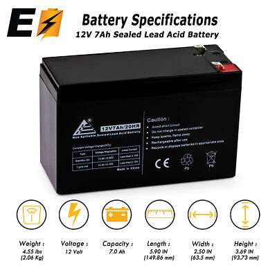 12V 7AH Battery SLA Sealed Lead Acid for Alarm Systems, Verizon Fios +More!