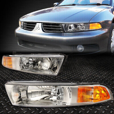 FOR 1999-2003 MITSUBISHI GALANT CHROME HOUSING AMBER CORNER HEADLIGHT/LAMP SET 2001 Mitsubishi Galant Headlight