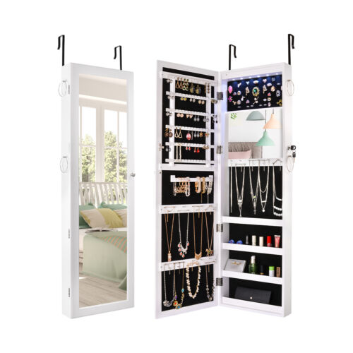 Lockable Wall Mount Mirrored Jewelry Cabinet Organizer Armoi