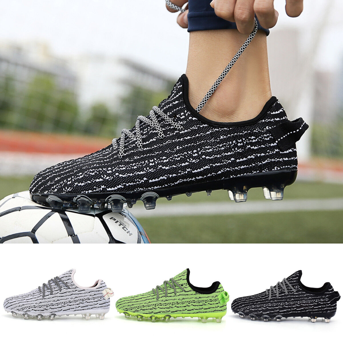 Men Boys Soccer Shoes Outdoor Breathable Soccer Cleats