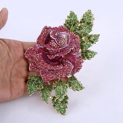 (Luxury Rose Flower Pink  Austrian Crystal Large Brooch Pin Gold Tone Women Party)