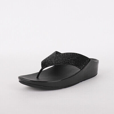 Womens FitFlop Crystall Black Toe Thong Sandals (TGF37) RRP £74.99