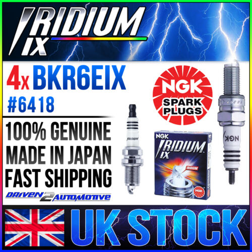 4 x NGK IRIDIUM SPARK PLUG BKR6EIX, 6418, WHOLESALE PRICE FAST SHIP UK STOCK
