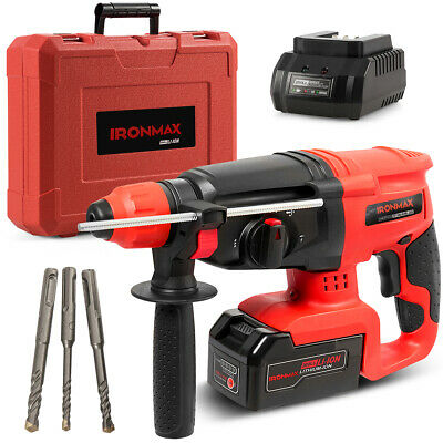 20v Cordless 3 In 1 Lithium-ion Sds Plus Rotary Hammer Drill 3 Mode Wdrill Bits